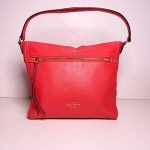 Kate Spade Teagan Cobble Hill Bag Coral Red EUC